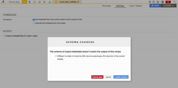 Schema changes. Update schema / ignore / cancel?