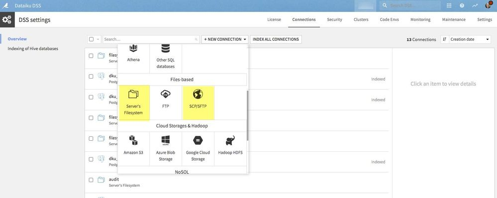 New Connection Dialog box with File Connection and SCP/SFTP connections highlighted in Yellow.
