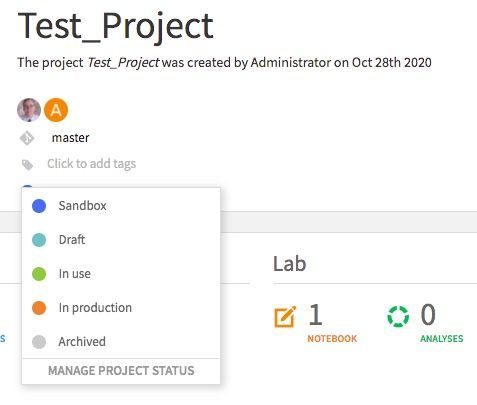 "The header of a ""Test_Project"" showing the git branch, Empty Tag List, and Project Status"