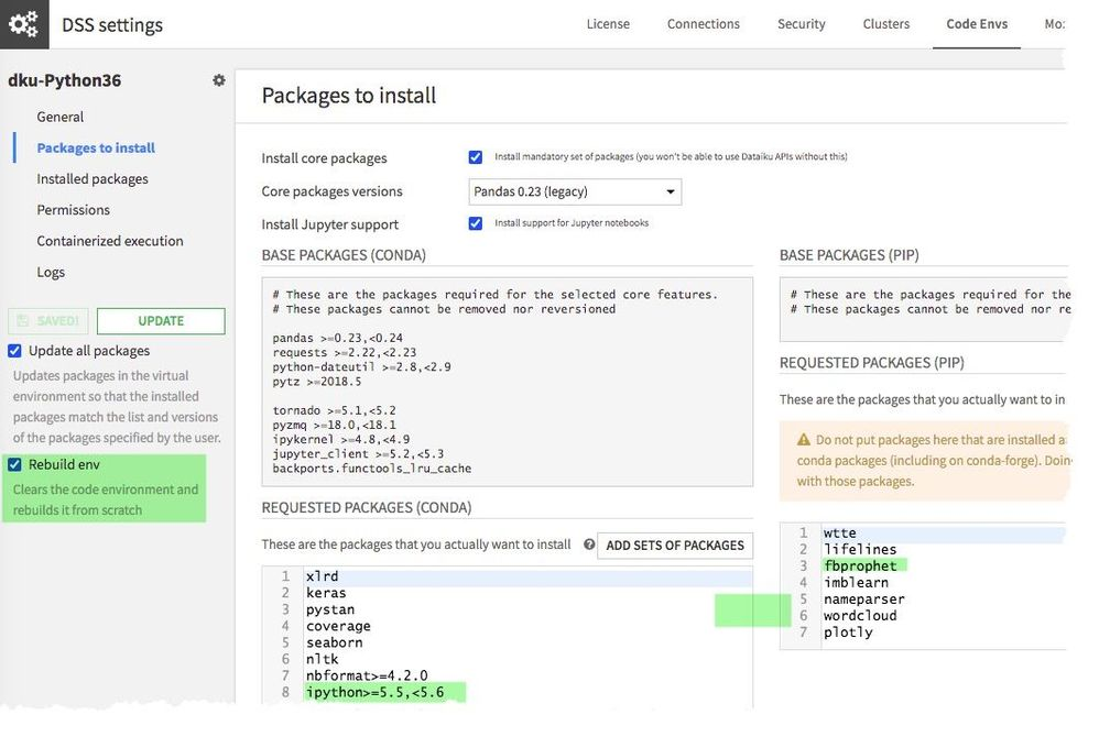 DSS Code environment showing the downgrade of ipython to 5.5 and the rebuild of the environment, and fbprofit being included.