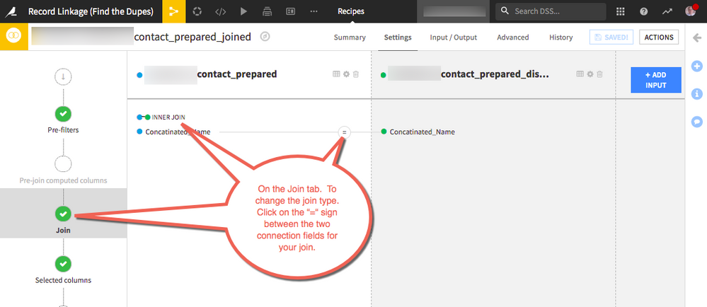 """Join recipie screen showing how to change the Join type.  On the Join tab.  To change the join type.  Click on the """"="""" sign between the two connection fields for your join."""