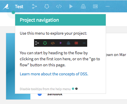Image Showing: Showing a Dataiku Tool Tip in a DSS Project.