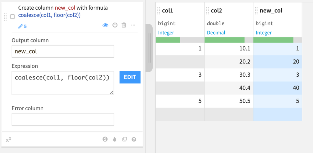 Here we fill the empty values of `col1` with the corresponding floored values of `col2` in a new column.